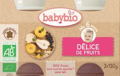 BABYBIO príkrm ovocná zmes 2x130g