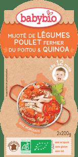 BABYBIO menu zelenina s kuracím mäsom a quinoa 2x200g