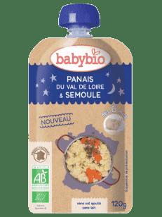 BABYBIO Kapsička večerné pyré paštrnák mrkva krupica z tvrdej pšenice 120g