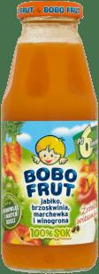 BOBO FRUT 100% sok jabłko, marchewka, brzoskwinia i winogrona (300ml)