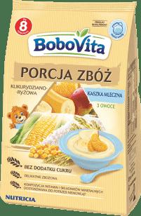 BOBOVITA Kaszka Porcja zbóż mleczna kukurydziano-ryżowa 3 owoce (210g)