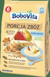 BOBOVITA Kaszka Porcja zbóż mleczna – 4 zboża jabłko-gruszka (210g)