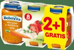 3x BOBOVITA Obiadek Warzywa z delikatną rybą (190g)