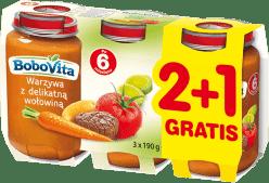 3x BOBOVITA Obiadek Warzywa z delikatną wołowiną (190g)