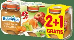 3x BOBOVITA Jabłka, morele i winogrona (125g)