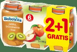 3x BOBOVITA Jabłka, brzoskwinie i kiwi (190g)