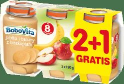 3x BOBOVITA Jabłka i banany z biszkoptem (190g)