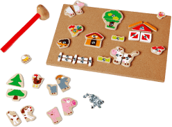 SCRATCH Drewniana zabawka do wbijania Farma
