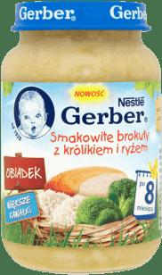 GERBER Smakowite brokuły z królikiem i ryżem (190g)
