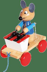 BINO Myszka z ksylofonem - zabawka do ciągnięcia