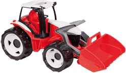 LENA Traktor s lyžicou, červeno-biely