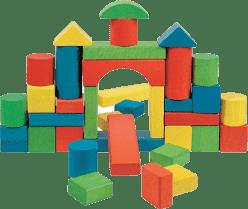 WOODY Stavebnica farebné kocky v kartóne, 36 dielov