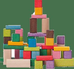 WOODY Kolorowe klocki, 50 elementów, 2,5 x 2,5 x 2,5 cm