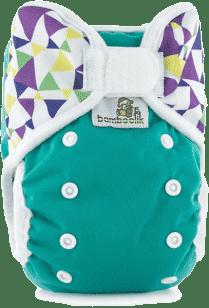 BAMBOOLIK Svrchní kalhotky, zelená+trojúhelníky