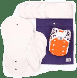 BAMBOOLIK Látkové pleny AI2 – denní testovací sada batole, oranžová+zvířátka
