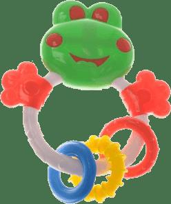 BABY'S HAPPINESS Hrkálka žabka s krúžkami na hryzenie – zelená
