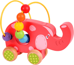BIGJIGS Zabawki motoryczne – Motoryczny labirynt na kółkach - Słoń