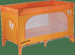 PATRON Skládací dětská postýlka na cesty skippy – oranžová/motýl