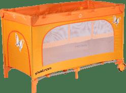 PATRON Skladacia detská postieľka na cesty skippy plus - oranžová / motýľ