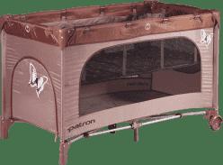 PATRON Skládací dětská postýlka na cesty skippy plus – hnědá/motýl