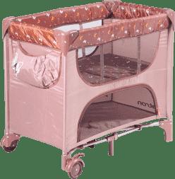 PATRON Skladane łóżeczko dla noworodków maia – brązowe/motyl