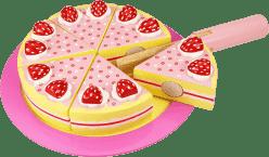 BIGJIGS Dřevěný krájecí dort s jahodama
