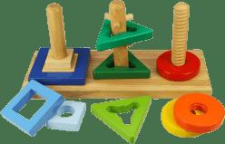 BIGJIGS Drevená motorická hračka - Nasaď a otoč