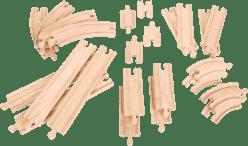 BIGJIGS Drewniane tory do kolejki – zestaw 24 części