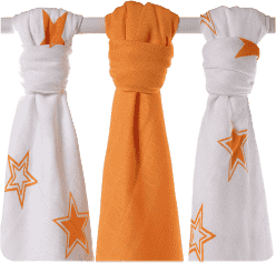 KIKKO Pieluszki bambusowe Stars 70x70 (3 szt.) – orange