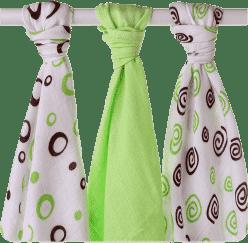 KIKKO Bambusové plienky Spirals&Bubbles 70x70 (3ks) – lime
