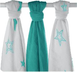 KIKKO Bambusové plienky Stars 70x70 (3ks) – turquoise