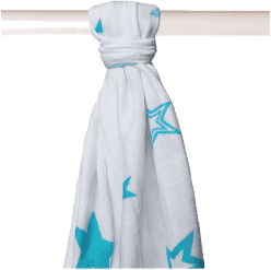KIKKO Bambusová osuška/plienka Stars 90x100 (1ks) – turquoise