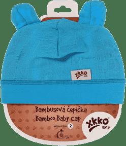 KIKKO Bambusová detská čiapočka Colours, vel.2 – cyan