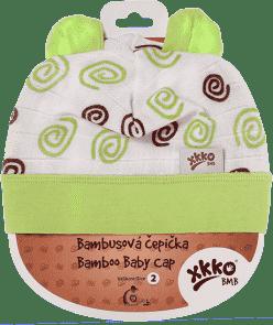 KIKKO Bambusová detská čiapočka Spirals vel.2 - lime