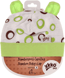 KIKKO Bambusová dětská čepička Bubbles vel. 2 - lime