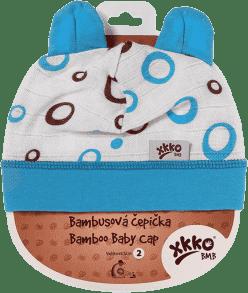 KIKKO Bambusová dětská čepička Bubbles vel.2 – cyan