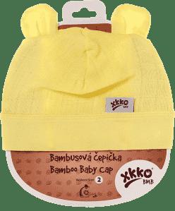 KIKKO Bambusowa dziecięca czapeczka Colours, rozm.3 - lemon