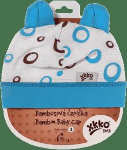KIKKO Bambusová dětská čepička Bubbles vel.3 – cyan