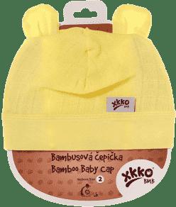 KIKKO Bambusová detská čiapočka Colours, vel.4 - lemon