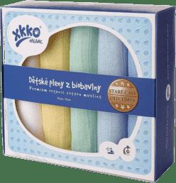 KIKKO Dziecięce pieluszki z biobawełny Retro 70x70 (5 szt.) – pastels dla chłopców