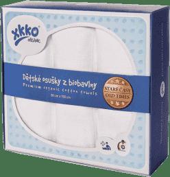 KIKKO Dziecięce ręczniczki/ pieluszki z biobawełny Retro 90x100 (3 szt.) – białe