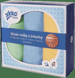 KIKKO Detské osušky/plienky z biobavlny Staré časy 90x100 (3ks) – pastels pre chlapčekov