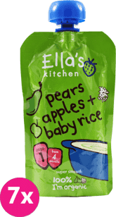 7x ELLA'S Kitchen Detská ryža - Hruška a jablko 120g