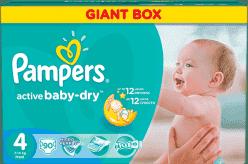 PAMPERS Active Baby 4 MAXI 90ks (7-14 kg) GIANT BOX PLUS - jednorazové plienky