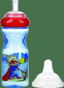 NUBY Nietłukąca się butelka z silikonowym ustnikiem, 300ml, 9m+, niebieska z czerwonym wieczkiem – s