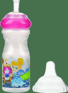 NUBY Nietłukąca się butelka z silikonowym ustnikiem, 300ml, 9m+, biała z różowym wieczkiem
