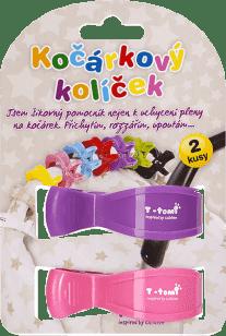 T-TOMI Klips do wózka, 2 szt. – różowy + fioletowy