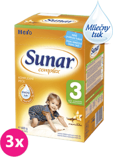 3x SUNAR Complex 3 VANILKA (600g) - dojčenské mlieko