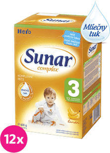 12x SUNAR Complex 3 BANÁN (600g) - dojčenské mlieko