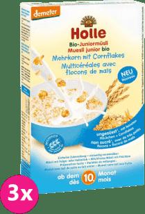 3x HOLLE Organické junior müsli vícezrnné s kukuřičnými lupínky, 250g